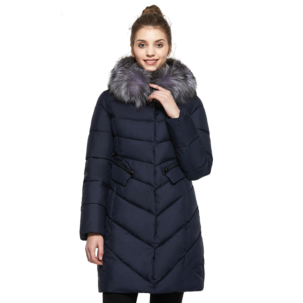 ICEbear 2017  Winter Coat Women High Quality Warm Detachable Fur Collar Pocket With Two-Way Zipper Casual Jackets 17G6560D lwela 2017 new large raccoon fur collar parka winter jacket women korean fashion corduroy outwear thick warm hooded coat