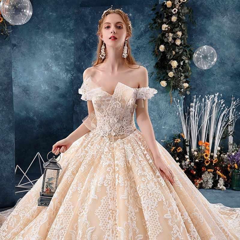 יוקרה שמפניה חתונה שמלה בתוספת גודל דובאי נסיכת חתונת שמלות תחרה אפליקציות מכתף Weddingdress Vestidos דה Novia