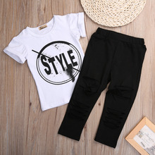 2017 New Fashion Kids Girls Clothes Set Little Girl Summer Short Sleeve T-Shirt and Hole Pant Leggings 2PCS Outfit Children Set