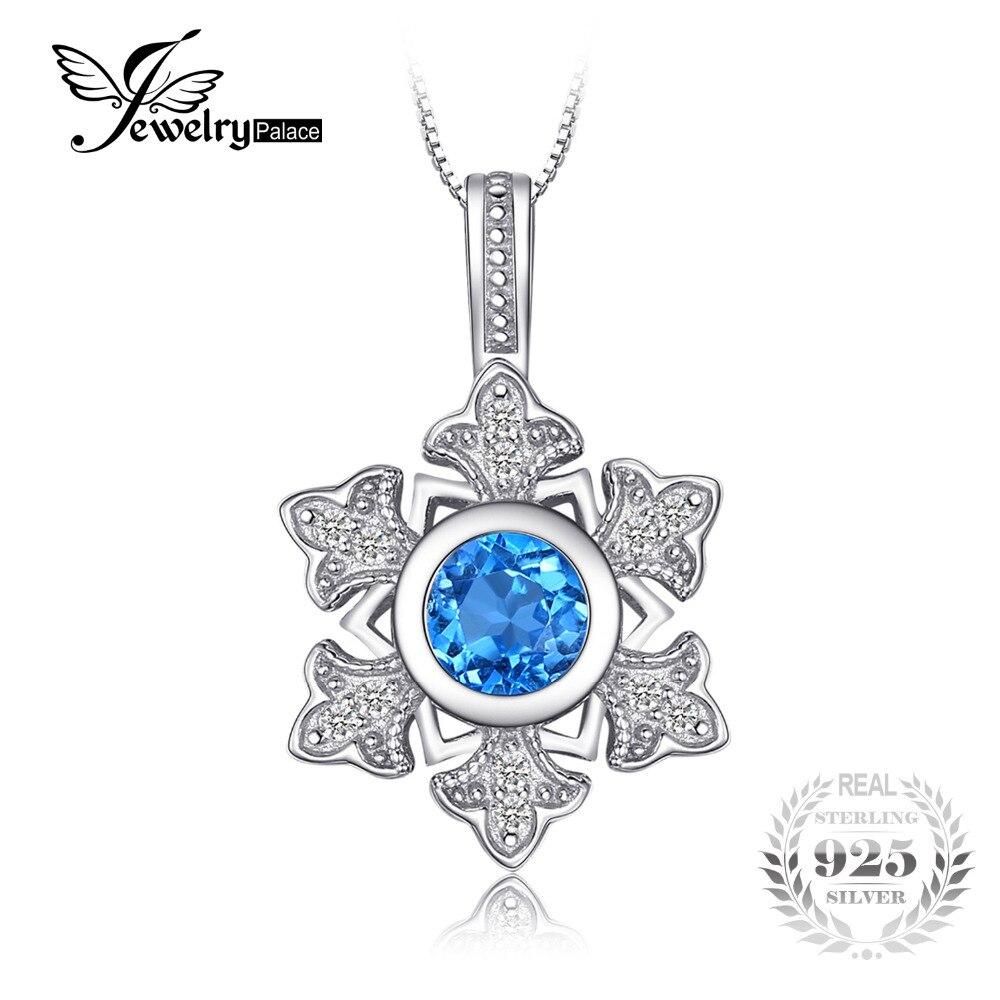 JewelryPalace Snowflake 1.1ct Genuine Swis Blue Topaz