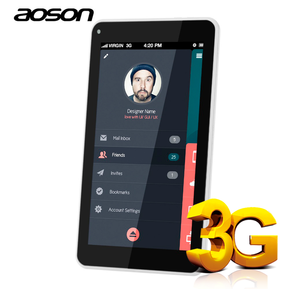 Aoson Tablet 7 pulgadas Doble tarjeta SIM 3G Phone Call Tablets Android 7,0 Tablet PC IPS pantalla GPS WIFI 16 GB ROM Quad Core