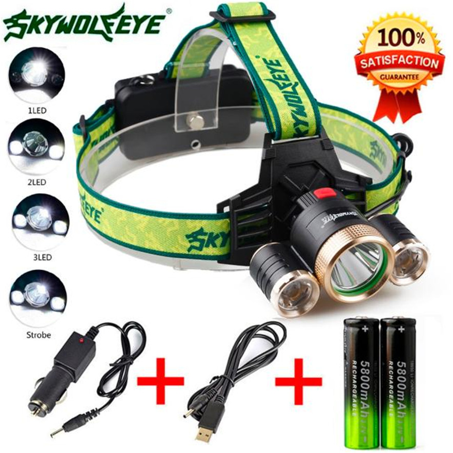 4Modes 9000Lm 3X XML T6 2R5 LED Headlamp Head Light Torch USB 18650 Car Charger Outdoor