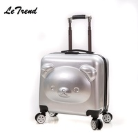 New ABS 18/20inch Rolling Luggage 3D Cute Suitcase Travel Suitcase With Wheels Custom Laser Engraving Luggage Spinner