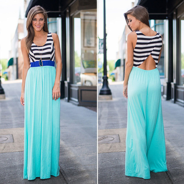 f09b601159c Latest designs fashion young girls hollow back african traditional long  flowy summer aqua blue stripe maxi dresses 2015