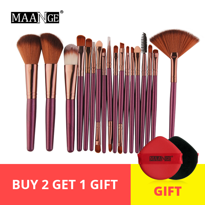 MAANGE 6/15/18Pcs Makeup Brushes Tool Set Cosmetic Powder Eye Shadow Make Up Brush