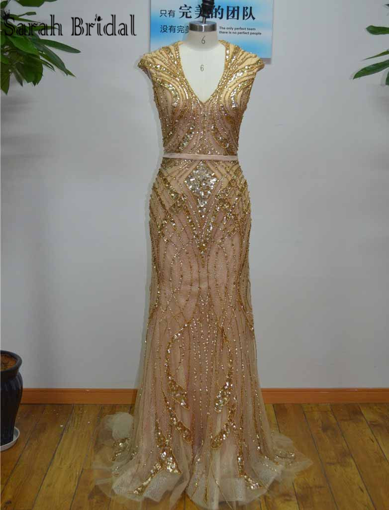 Gorgeous Gold Beads Sequins Mermaid Evening Dresses 2017 Real Photos Champagne Lace Long Vestido De Festa Longo Party LX053