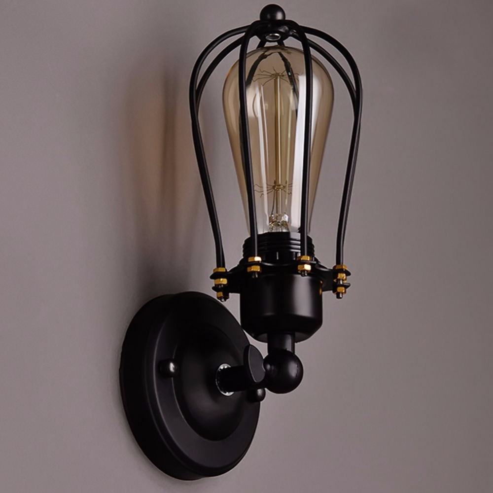 1 Bulb+Nordic Retro Wall Lamp Bedside Light Wrought Iron Lamps Shade American Country Style Restaurant Bar Industrial Pendant