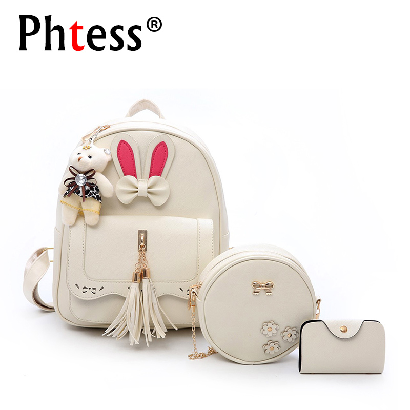 3pc/Sets Composite Backpacks For Teenage Girls 2018 Women Leather Backpack School Bags Sac a Dos Student Back Pack High Quality