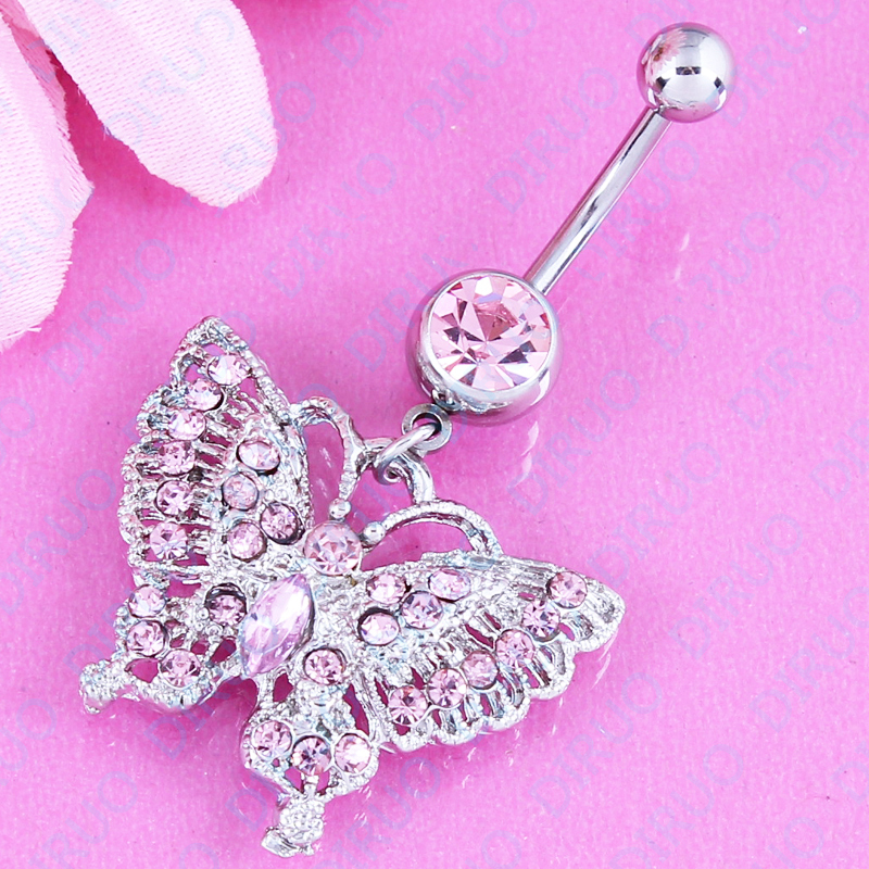 Free shipping Pink Hollow Butterfly Belly Button Ring Women Navel Stud Body Piercing Jewelry Navel bar 316L Stainless steel