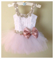 Cute ivory lace pink flower girl dresses with bow crystals sash lovely kids wedding birthday party ball gowns toddler girl gown