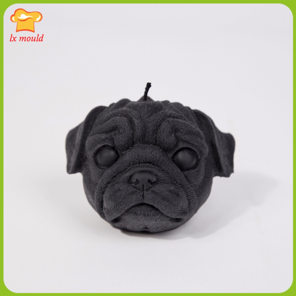 Pug dog head silicone mold soap fragrance wax shape candle mould