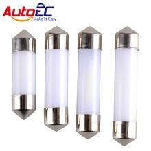 AutoEC 4x Smoke Design COB Led Chips C5W 31mm 36mm 39mm 41mm Car Interior Glass Lens Festoon Dome Reading 12V DC White Bulbs