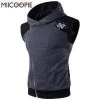 Brand Clothing Men Hoodies Sleeveless Men S Hooded Hoodie Sweatshirt Leath Patchwork Zipper Jacket Coat Bodybuilding