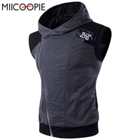 Marka clothing erkekler hoodies kolsuz erkek kapşonlu hoodie sweatshirt leath patchwork fermuar ceket ceket vücut adam yelek