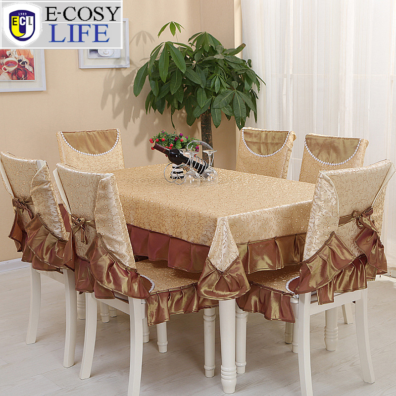 ... Yellow Embroidered Table Cloth Rectangular Fashion Design Banquet  Wedding Home Decor Tablecloths Dining Chair Cover Set ...