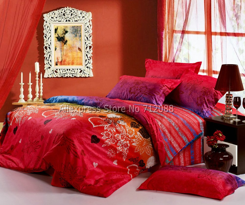 4pc Queen Full King Cotton Comforter Duvet Covers Sweetheart Flower Pattern Red Purple Fashion Wedding Bedding Sets Home Textile In From
