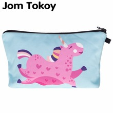 Jom Tokoy 3D Printing Multicolor Pattern Cute Cosmetics Pouchs For Travel Ladies Pouch Women Cosmetic Bag unicorn Makeup Bags