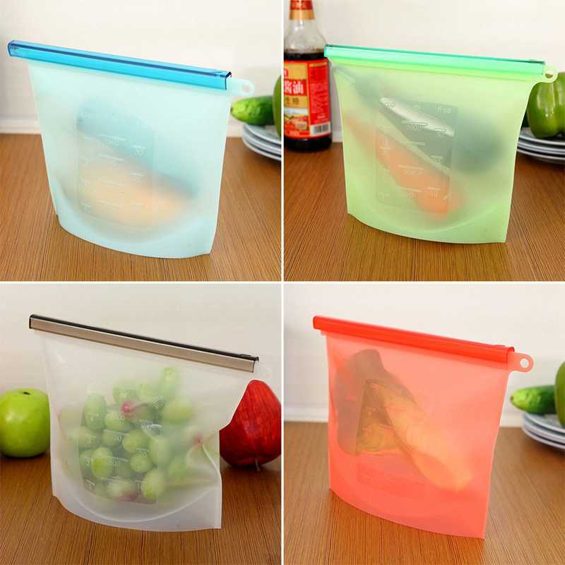 4PCS Reusable Silicone Food Bag Hermetic Bags Fruit Meat Storage Bag Refrigerator Storage Freezer Bags Kitchen Organizer 23*18CM