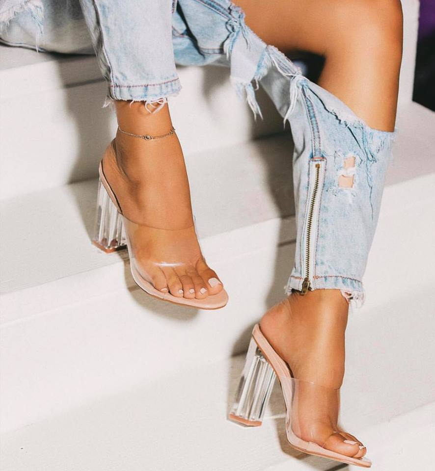 HTB1YlbkaZvrK1Rjy0Feq6ATmVXaj Aneikeh New Women Sandals PVC Jelly Crystal Heel Transparent Women Sexy Clear High Heels Summer Sandals Pumps Shoes Size 41 42