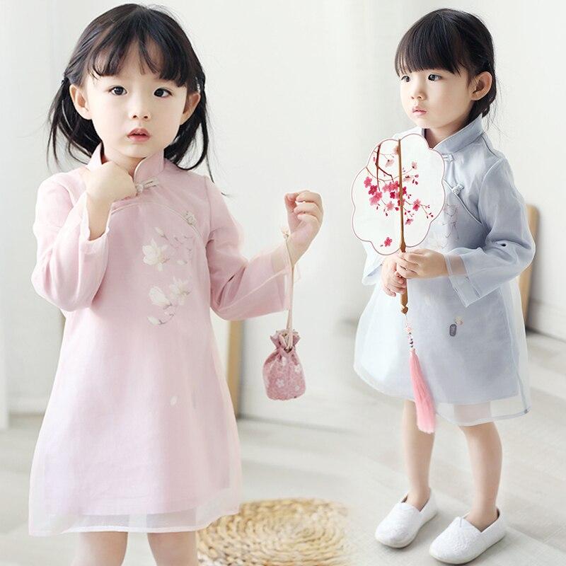 Elegant Full Sleeve Baby Girls Cheongsam 2018 Vintage Hanfu Clothing Mandarin Collar Qipao Vestidos Floral Kids