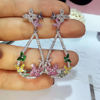 Autumn Zircon Earrings Long Color Butterfly Drop Earrings Evening Dress Ear Accessories