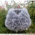 O envio gratuito de 100% de pele real 2015 da pena da avestruz fur cape o vestido de casamento da noiva xales de inverno as mulheres se vestem casaco de produtos de qualidade com um