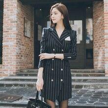 2018 Fashion High Quality Office Lady Slim Striped Blazer Split Sexy Notched Women Dress Elegant Work Suits Feminino