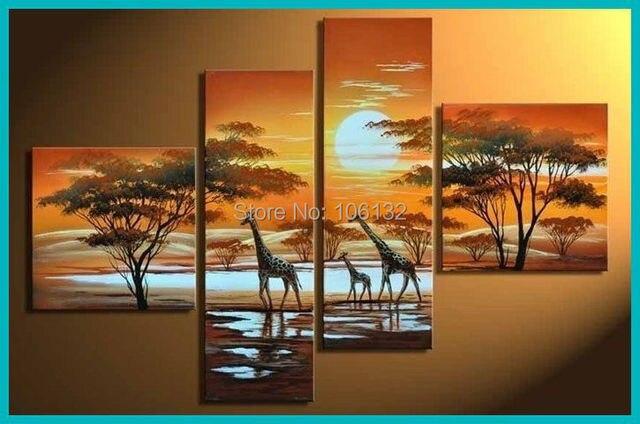 Gerahmte 4 Steuerung Große Giraffe Afrikanische Malerei auf Leinwand ...