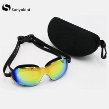 Silica Gel Large Frame Colorful Plating Anti-fog Swim Glasses Anti-UV Glass Mens Womens Scratch-proof Lens Adjustable Eyewear
