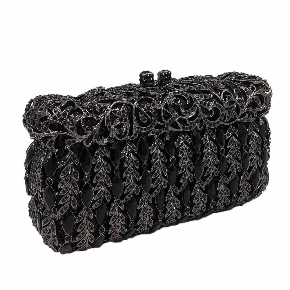 Бутик De FGG элегантный черный кристалл женский Вечерний Клатч жесткий чехол Minaudiere Свадебная вечеринка сумки кошельки металлические клатчи