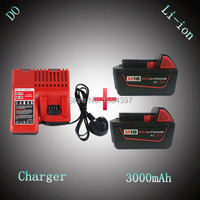 2 X New Rechargeable Power Tool Lithium Ion Battery 3000mAh With Charger Replacement For Milwaukee 18V