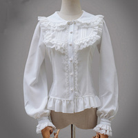 Retro Lolita Lace Chiffon Blouse Women Clothing White Black Peter Pan Collar Layered Lace Ruffles Mori