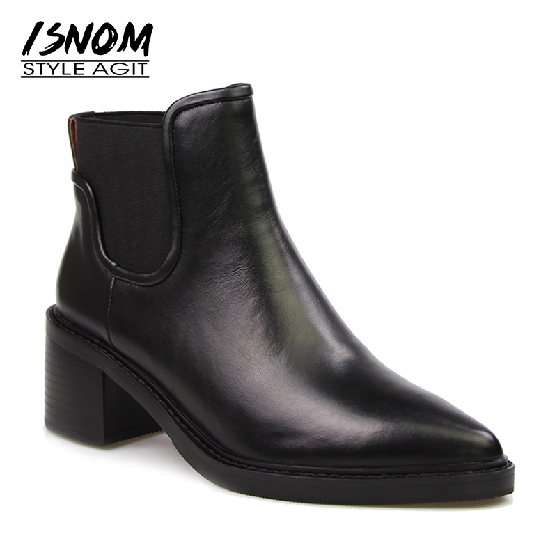 Real Leather Women's High Square Heel Shoes Mature Pointed Chelsea Ankle Boots Elastic Band Slip On Winter Boots Female Footwear