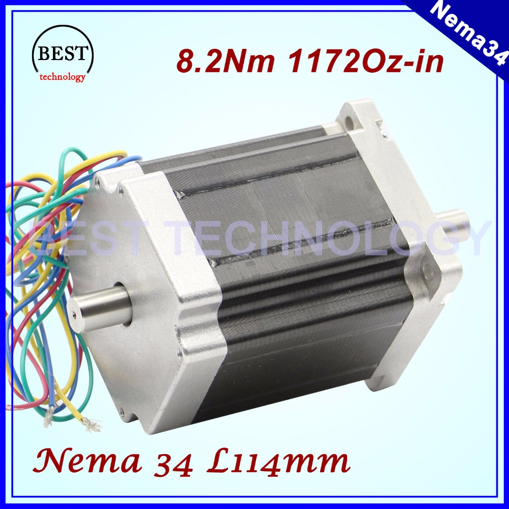 цена на NEMA 34 CNC stepper motor 86X114mm Double Shaft 8.2 N.m 6A  stepping motor 1172Oz-in for CNC engraving machine and 3D printer!