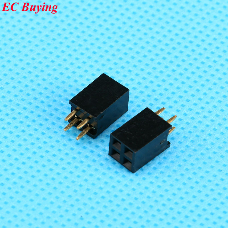 e2de42587 10 unids/lote 2x2 Pasadores 2 P 2.54mm fila doble fila hembra recta pitch  socket Strip