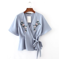 Summer New Arrival Women Cute Tops Fashion Embroidery Floral Leisure Ladies Shirts Korean Lace Up Bow