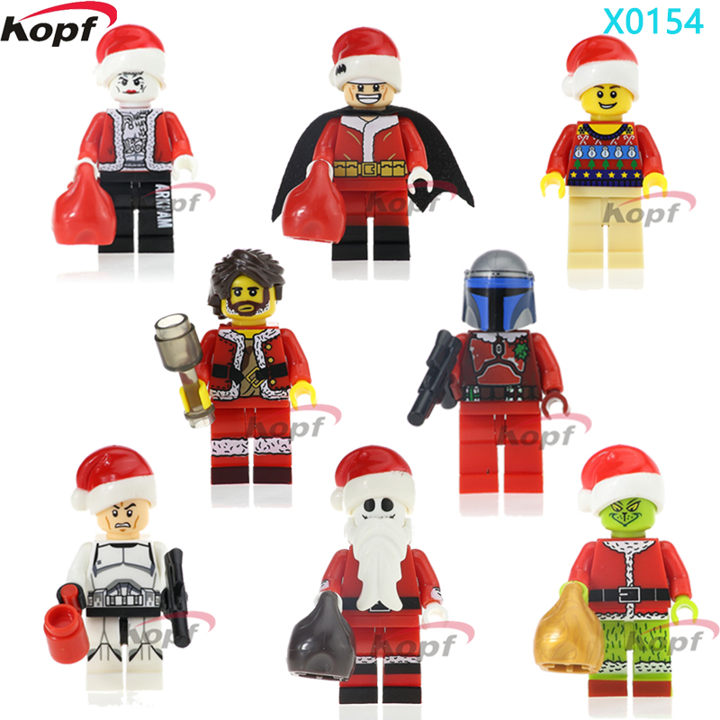 Single Sale Super Heroes Merry Christmas Boy Joker Clone Trooper Wiley Jack Skellington Building Blocks Children Toys Gift X0154