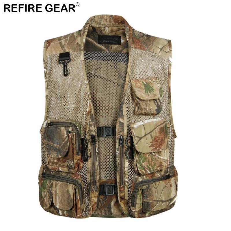 Refire Gear Summer Fishing Mesh Vest Men Breathable Waistcoat Sleeveless Camo Vest Camouflage Multi Pockets Jacket Outdoor Vests
