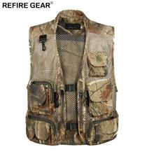 Refire Gear Outdoor Fishing Mesh Vest Men Breathable Waistcoat Sleeveless Camo Vest Camouflage Multi Pockets Jacket Life Vests