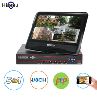 Hiseeu CCTV 4 Channel 8CH 1080N Digital Video Recorder With 10 1 LCD Screen Hybrid DVR