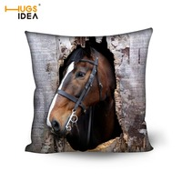 HUGSIDEA Cool 3D Horse Printing Sofa Bedroom Office Decor Pillow Covers Cotton Square Throw Pillow Case