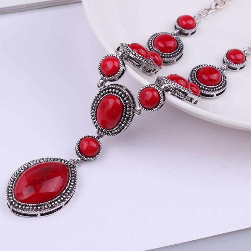 Duohan Turkish Jewelry Vintage Necklace Red Stone Antique
