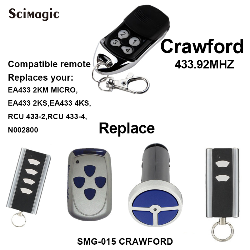 Crawford Remote EA433 2KS,EA433 4KS Replacement Garage Door Remote Control Opener Crawford Remote Control Electric Gate