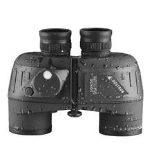 Binoculars 10x50 Marine Military telescope life Waterproof with Rangefinder Compass BAK4 Prism FMC Lens Bird watching for Adults