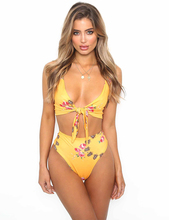 High Waist Women Bikini Push Up Print Flower and Fruit