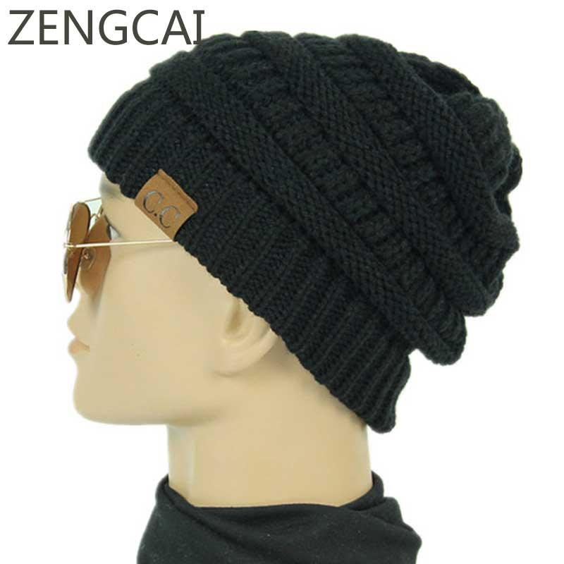 2018 Fashion Soft Knit CC Beanie Men Winter Hats For Women Woolen Knitted  Hat Skullies Beanies Warm Cap Unisex Solid Baggy Caps e6829c03a949
