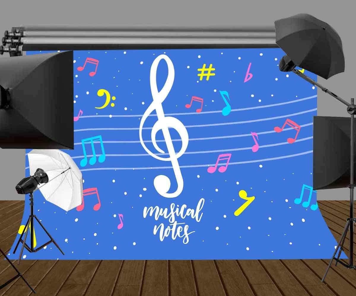 SZZWY 7x5ft Music Symbol Backdrop Khaki Retro Music Symbol Photography Background and Studio Photography Backdrop Props LYGE772