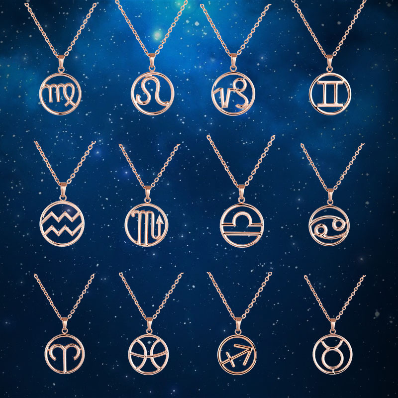 Zodiac Necklace Pendant Stainless Steel Fashion Women Gold Rose Gold Black Unique Jewelry Men Necklace Special Birthday Gift New wholesale fashion 18k gold 12 constellation necklace pendant jewelry zodiac virgo sign charm pendant collar for birthday gift