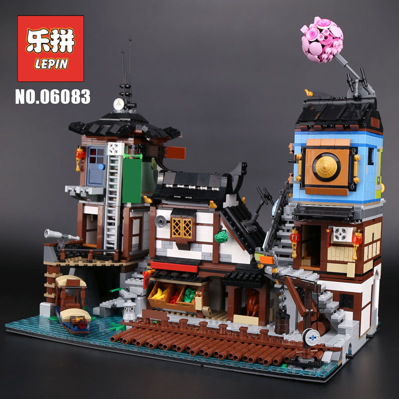 Lepin 06083 Ninja Movie The City Docks Set Building Series 70657 Building Blocks Bricks Model Set 2018 New Children Toys Lepin bevle store lepin 07045 501pcs with original box movie series robin chariot building blocks bricks for children toys 70905