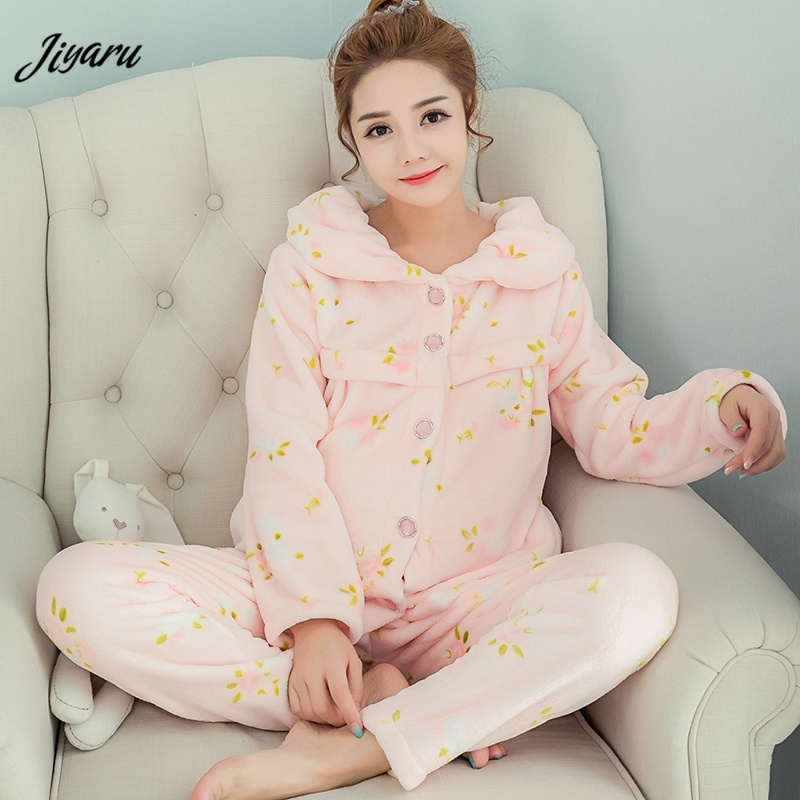 Pregnant Woman Breastfeeding Sleepwear Autumn Winter Maternity Lounge Pregnant Woman Pajamas Maternity Breast Feeding Nightgown mystery mek 1632